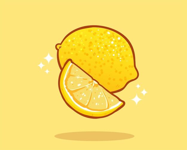 Illustration d'art de dessin animé dessiné à la main de fruit de citron