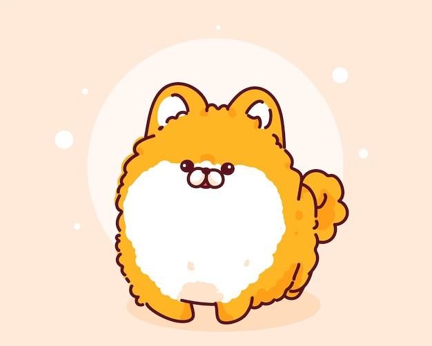 Illustration d'art de dessin animé dessiné à la main de personnage de chien poméranien heureux