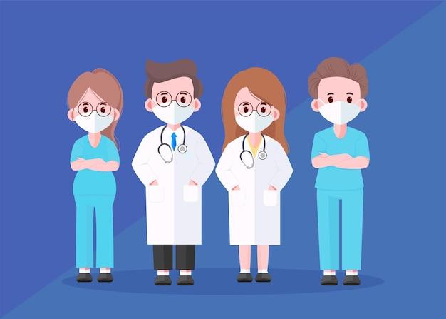 Illustration d'art de dessin animé de l'équipe professionnelle de médecin
