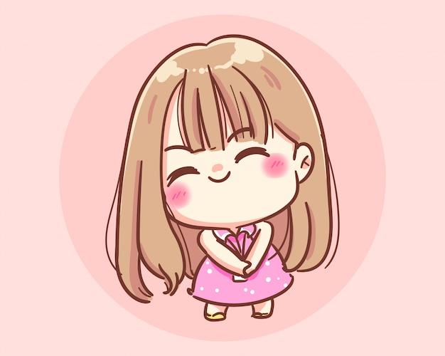 Illustration d'art de dessin animé fille modestement souriante vecteur premium