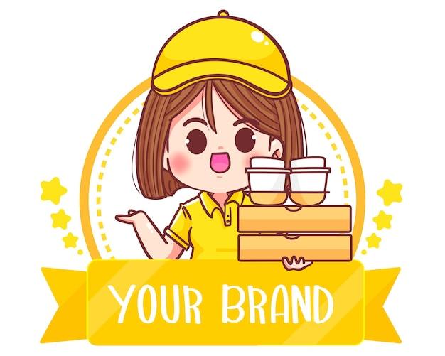 Illustration d'art de dessin animé mignon femme livraison logo