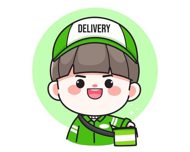 Illustration d'art de dessin animé mignon livreur personnage logo dessinés à la main