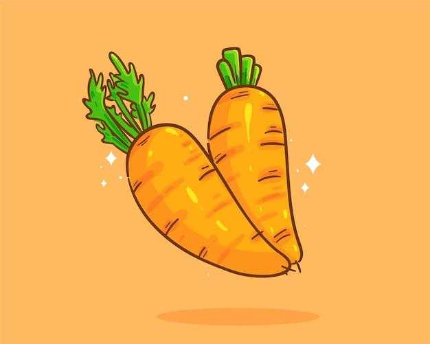 Illustration d'art de dessin animé organique de carotte