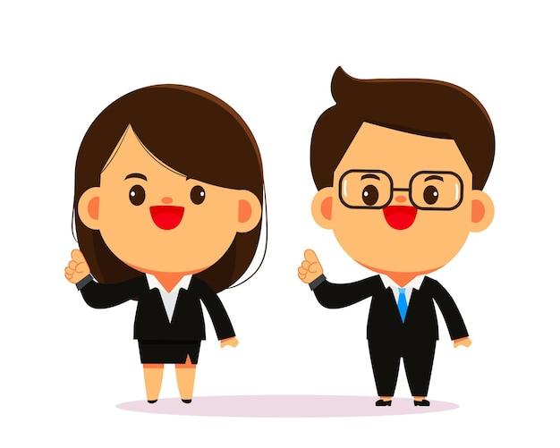 Illustration d'art de dessin animé de personnage de femme d'affaires et homme d'affaires