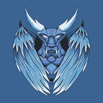 Illustration d'art dessiné main dragon mythique