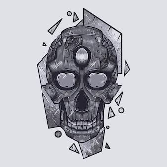 Illustration d'art d'illustration de crâne de robot méca