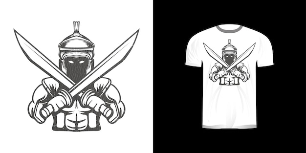 Illustration d'art en ligne armure de fer knigh pour la conception de tshirt