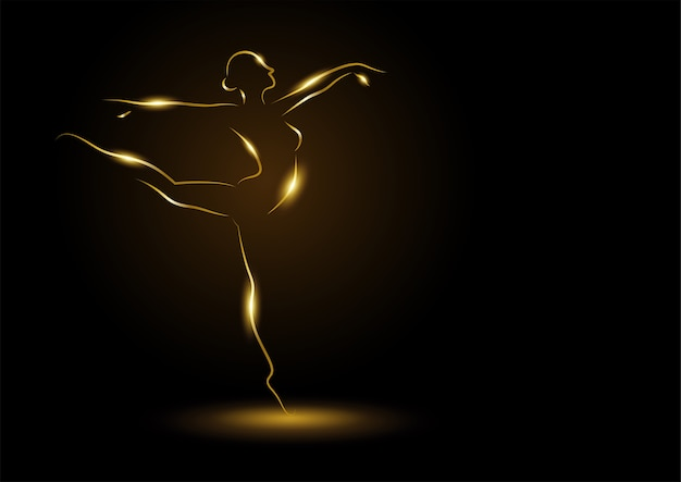 Illustration d'art en ligne d'une ballerine dorée