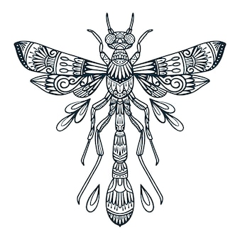 Illustration d'art en ligne de coléoptère libellule