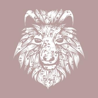 Illustration art de ligne du loup