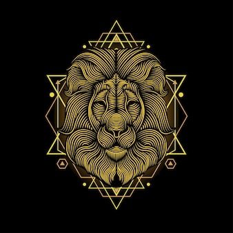 Illustration d'art de ligne de lion