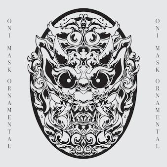 Illustration d'art de ligne de masque de tête de démon mythique