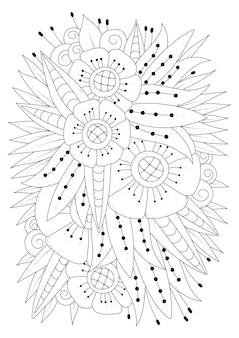 Illustration d'art en ligne noir et blanc. coloriage ornement floral