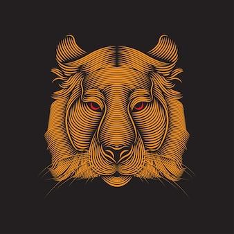 Illustration d'art de ligne de tigre