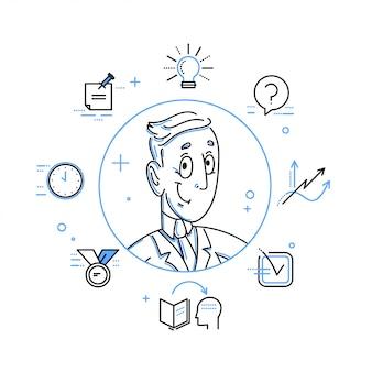 Illustration d'art de ligne de travailleur de bureau.