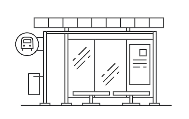 Illustration d'art de ligne vectorielle d'arrêt de bus. sortie du métro.