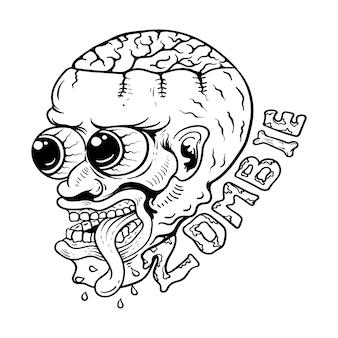 Illustration d'art en ligne zombie dessiné à la main en noir et blanc