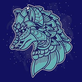 Illustration d'art de loup
