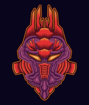 Illustration d'art de mascotte de tête de hibou