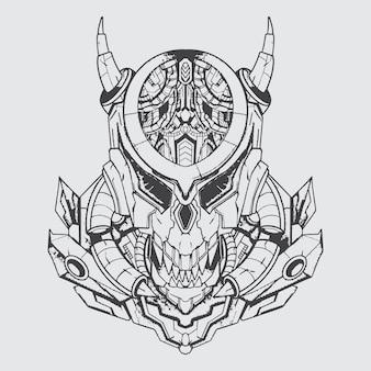 Illustration d'art de monstre prédateur noir et blanc