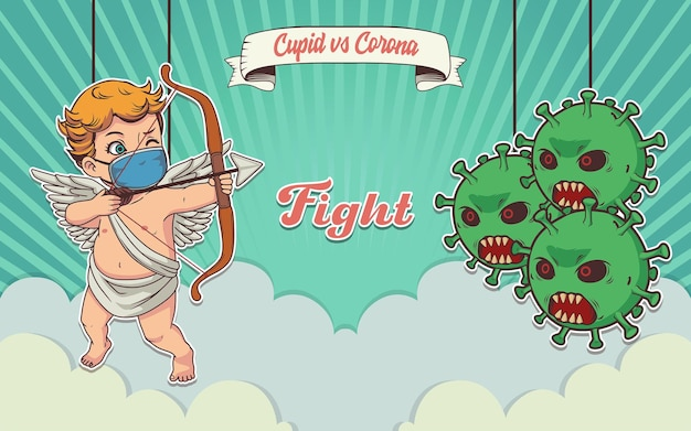 Illustration d'art rétro, cupidon vs corona