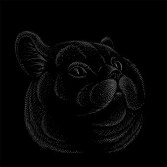 Illustration d'art de vecteur de chat conception de tatouage de vêtements de tshirt ou vêtements d'extérieur c