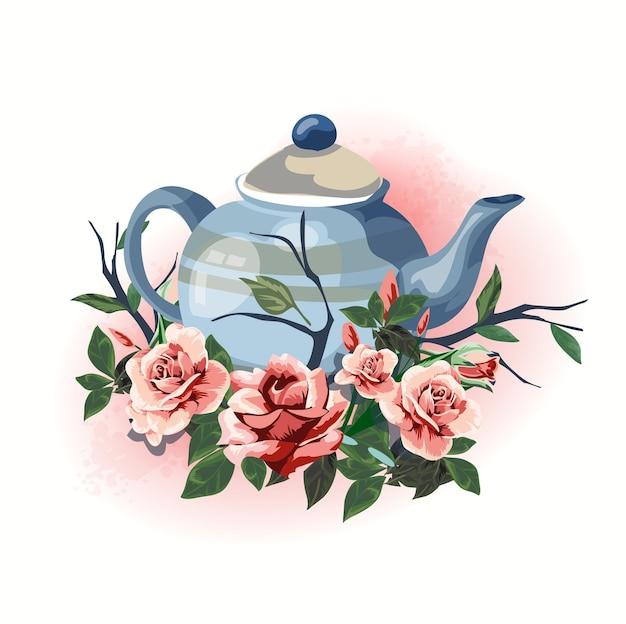 Illustration d'articles ménagers cadeau théière décorée de fleurs.