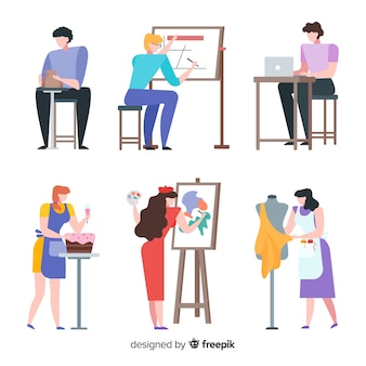 Illustration d'artistes au travail