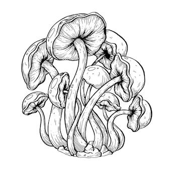 Illustration artistique de vecteur de champignons fait à la main avec un stylo et de l'encre