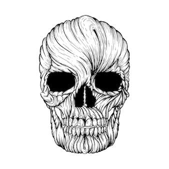 Illustration artistique de vecteur de crâne fait à la main avec un stylo et de l'encre sur papier