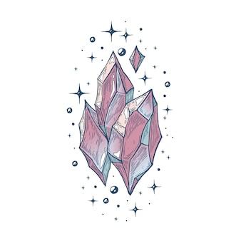 Illustration artistique vectorielle faite à la main avec stylo et encre le cristal magique