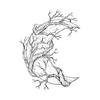 Illustration artistique vectorielle faite à la main avec stylo et encre la lune avec les branches d'un arbre