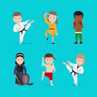 Illustration d'arts martiaux pour enfants.