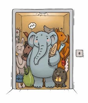 Illustration de l'ascenseur surchargé avec différents animaux et un éléphant