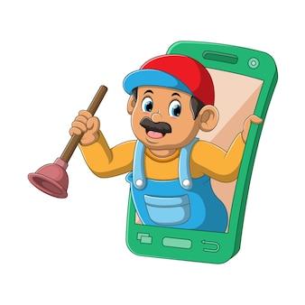 L'illustration de l'aspirateur de toilettes tenant le pumper est sortie du smartphone mobile