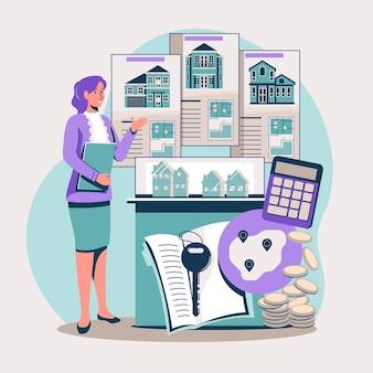 Illustration d'assistance d'un agent immobilier design plat