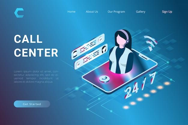 Illustration de l'assistance au service client et du support technique dans le système en style 3d isométrique