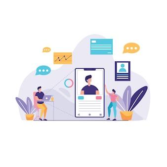 Illustration d'assistant commercial virtuel