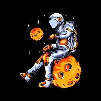 Illustration d'un astronaute attendant un t-shirt