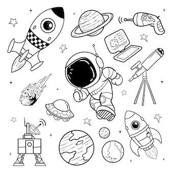 Illustration de l'astronaute doodle