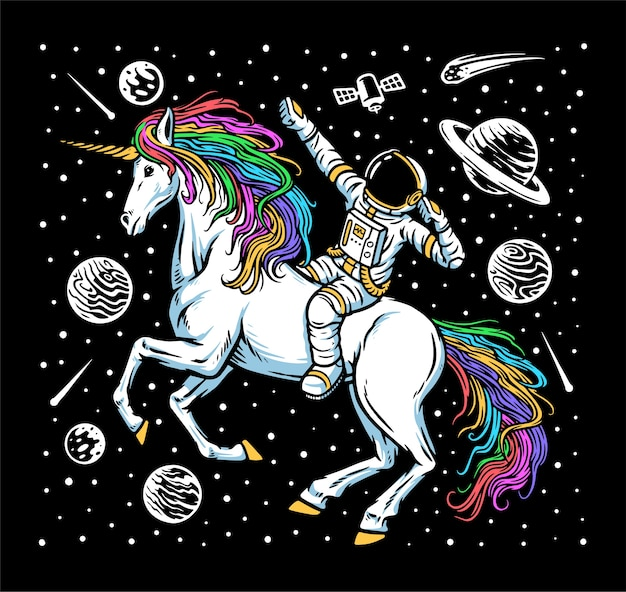 Illustration de l'astronaute et de la licorne