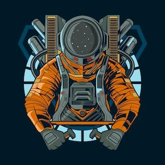 Illustration de l'astronaute mecha tech