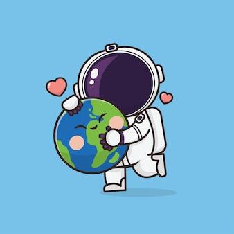 Illustration d'astronaute mignon kawaii