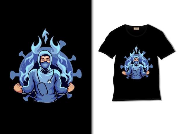 Illustration d'attaque de docteur avec la conception de t-shirt