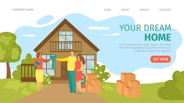 Illustration d'atterrissage de site web de maison de rêve