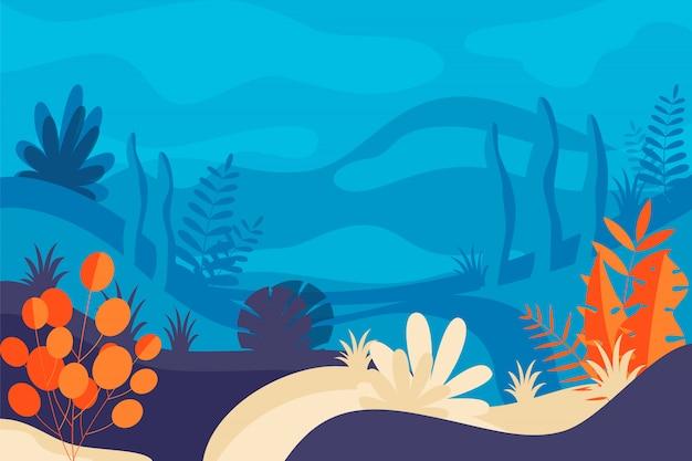 Illustration au design plat et couleurs vives paysage nature