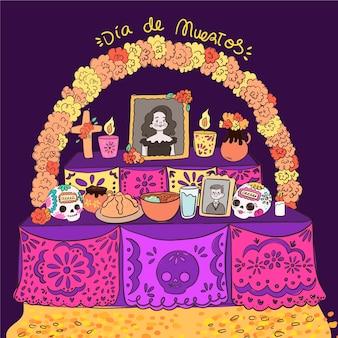Illustration de l'autel de la maison familiale dia de muertos dessiné à la main