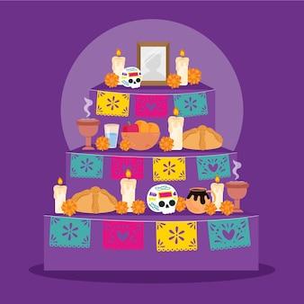 Illustration de l'autel de la maison familiale dia de muertos plat dessiné à la main