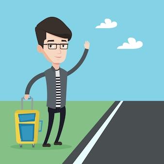 Illustration de l'auto-stop de jeune homme.