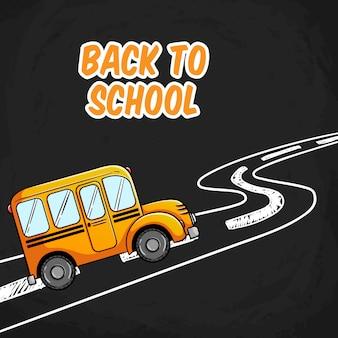 Illustration d'autobus scolaire avec doodle road sur tableau noir